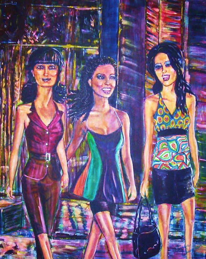 Shopping Painting - Girlfriends by Linda Vaughon