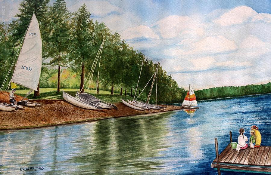 Sailboats Painting - Girls Day At The Lake by Enola McClincey