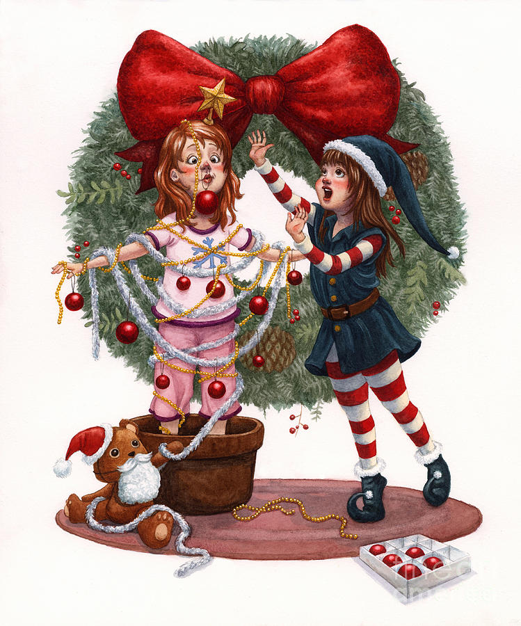 Girls Painting - Girls Decorating For Christmas by Isabella Kung