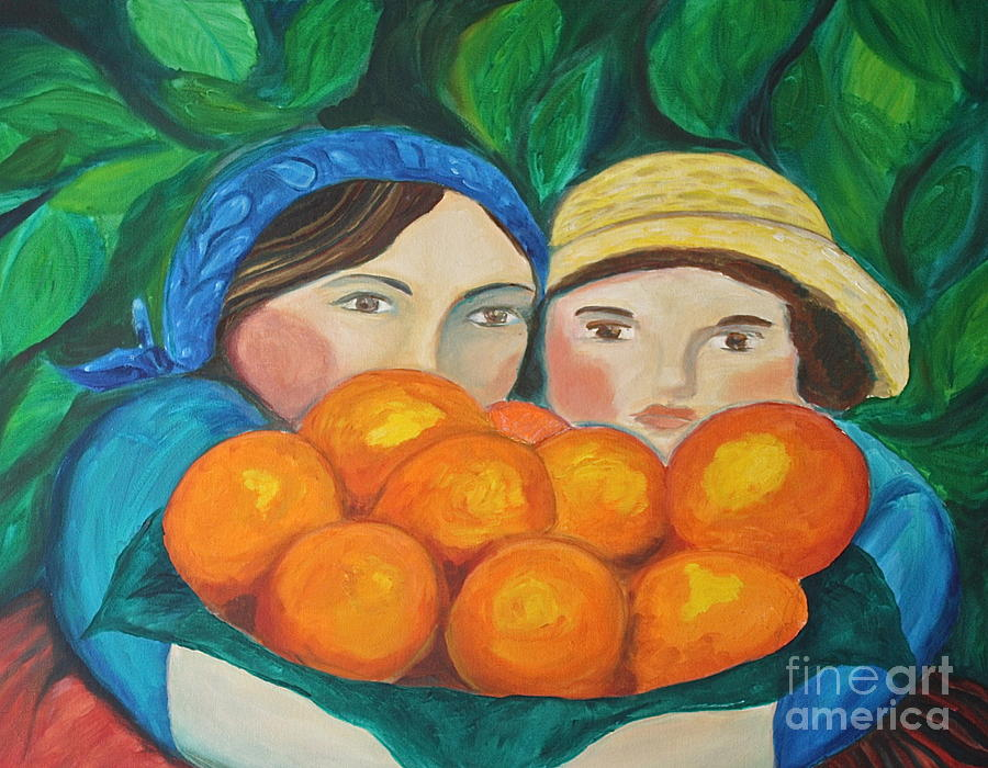 Landscape Painting - Girls In The Orange Grove by Teresa Hutto