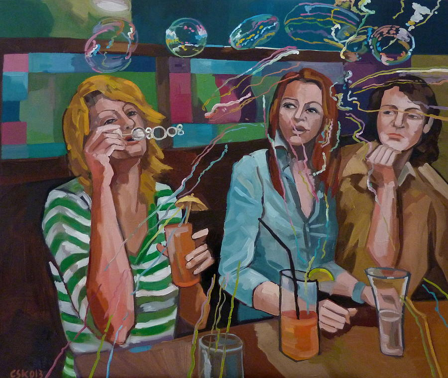 Party Painting - Girls Party by Carmen Stanescu Kutzelnig