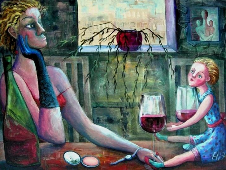 Woman Painting - Girls Party by Elisheva Nesis