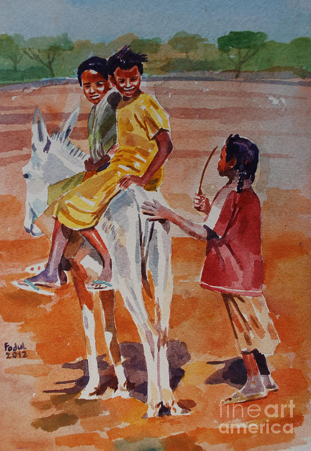 Girls Play Painting - Girls Play by Mohamed Fadul