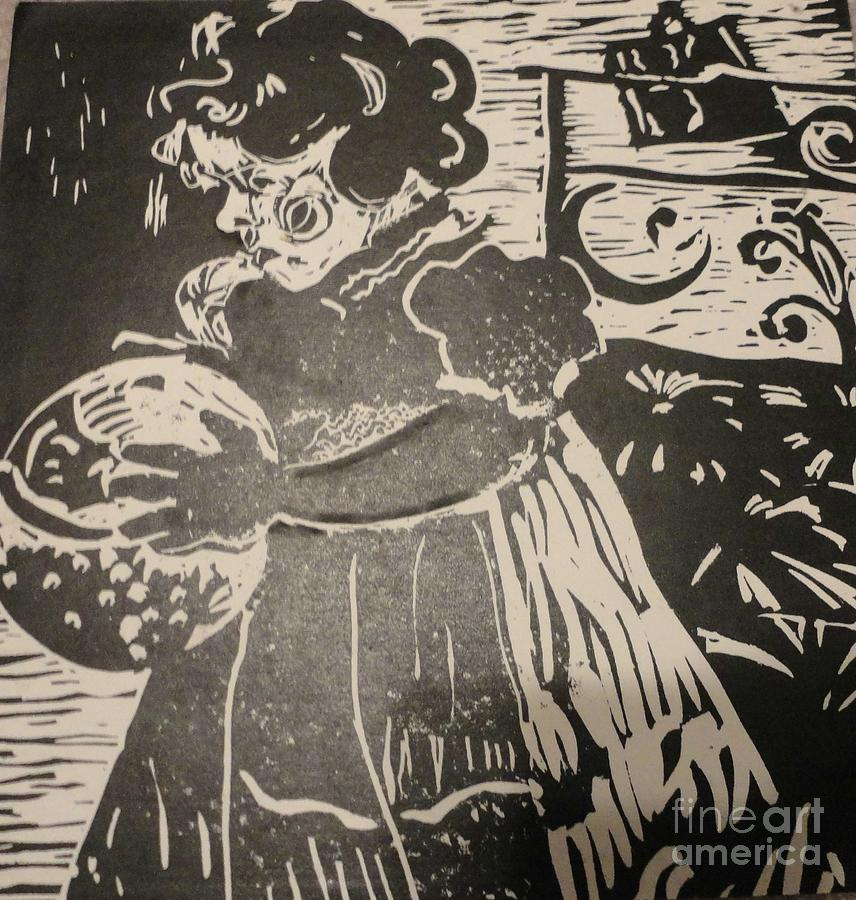 Lino Painting - Girls Play by PainterArtist FINs husband Maestro