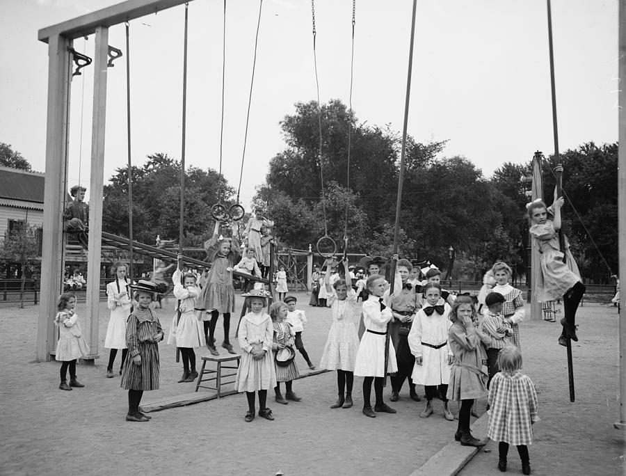 Girl Girls Children Playground Photograph Vintage 1899  Photograph - Girls Playground 1899 by Steve K
