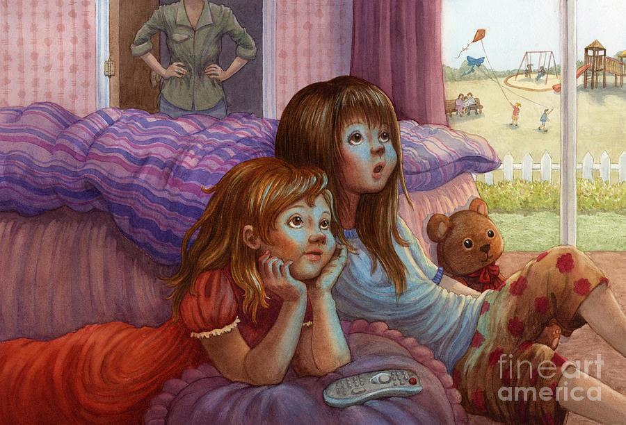 Girls Painting - Girls Staring At Tv by Isabella Kung