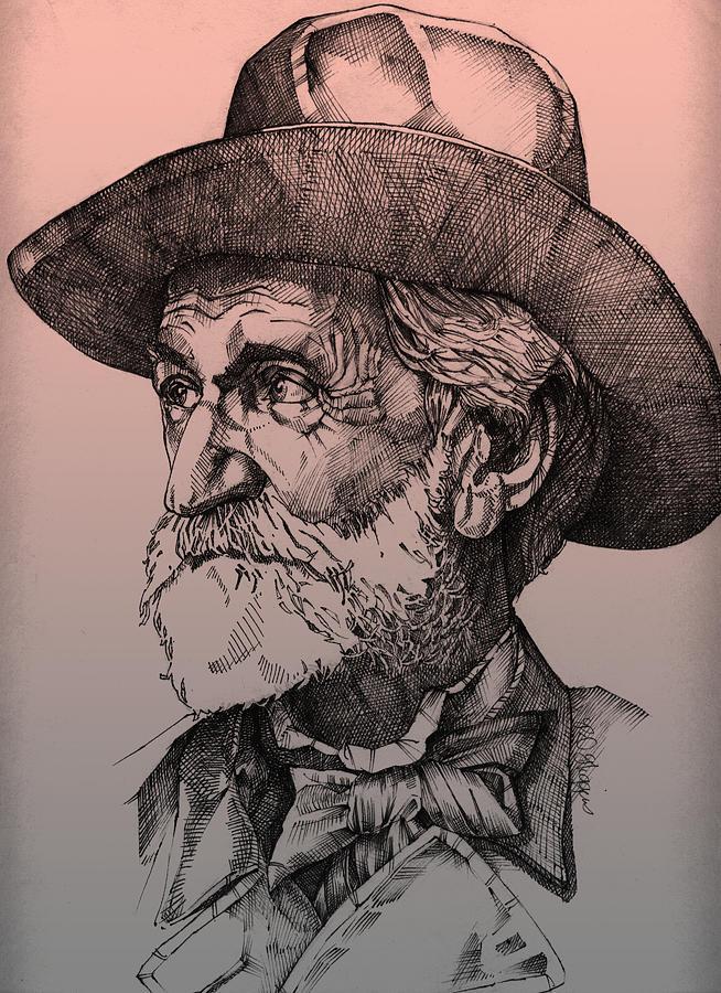Giuseppe Verdi Drawing - Giuseppe Verdi by Derrick Higgins