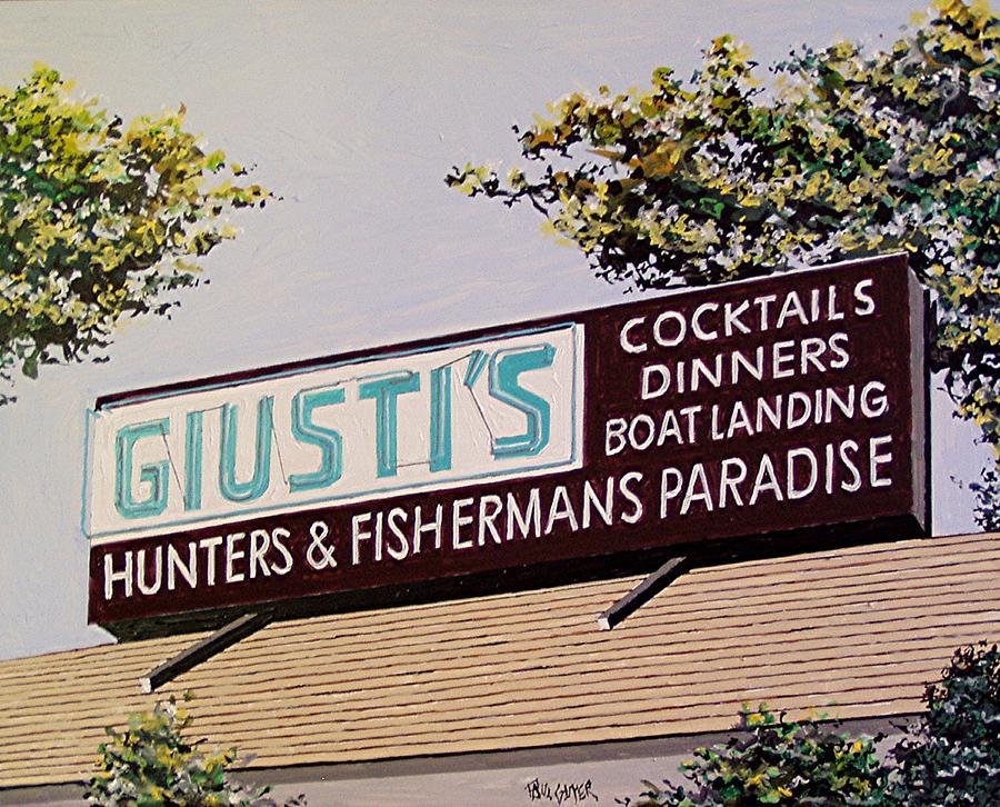 Sacramento Painting - Giustis In The Sacramento San Joaquin Delta by Paul Guyer