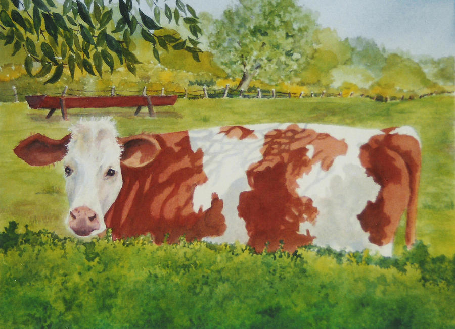 Cows Painting - Give Me Moooore Shade by Mary Ellen Mueller Legault