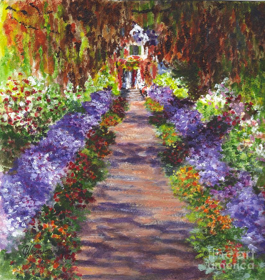 Floral Painting   Giverny Gardens Pathway After Monet By Carol Wisniewski