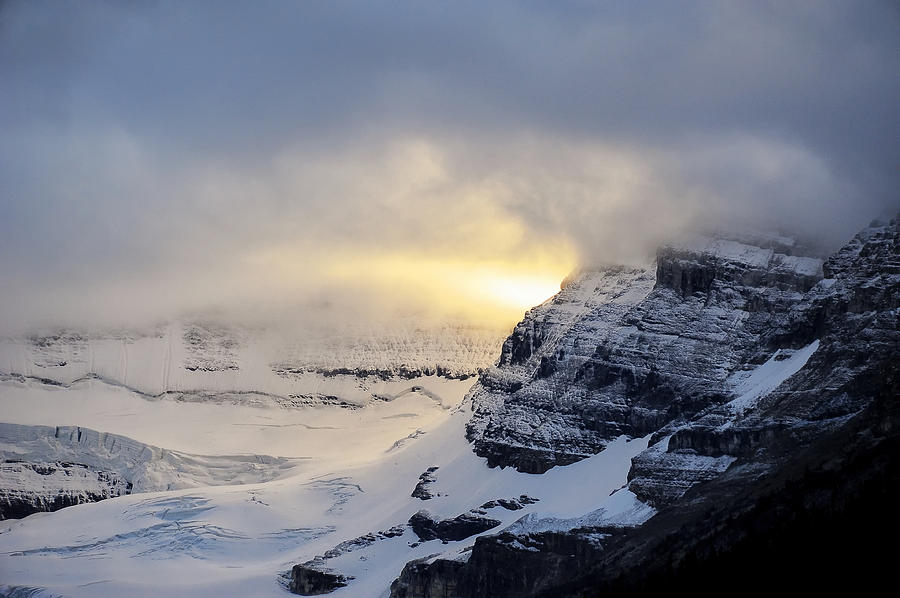 Landscapes Photograph - Glacier Above Lake Louise Alberta Canada by Mary Lee Dereske
