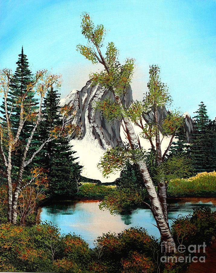 Glacier Peak Painting - Glacier Peak After Bob Ross by Barbara Griffin