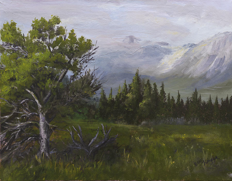 Montana Painting - Glacier View by Bev Finger