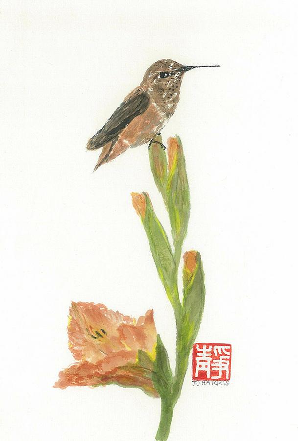 Japanese Painting - Glad Hummingbird  by Terri Harris
