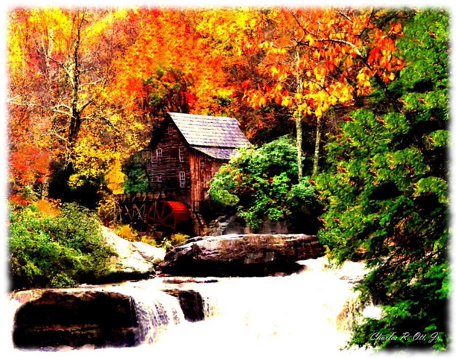 Landscape Painting - Glade Creek Grist Mill by Charles Ott