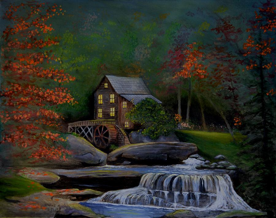 Grist Mill Painting - Glade Creek Grist Mill by Stefon Marc Brown