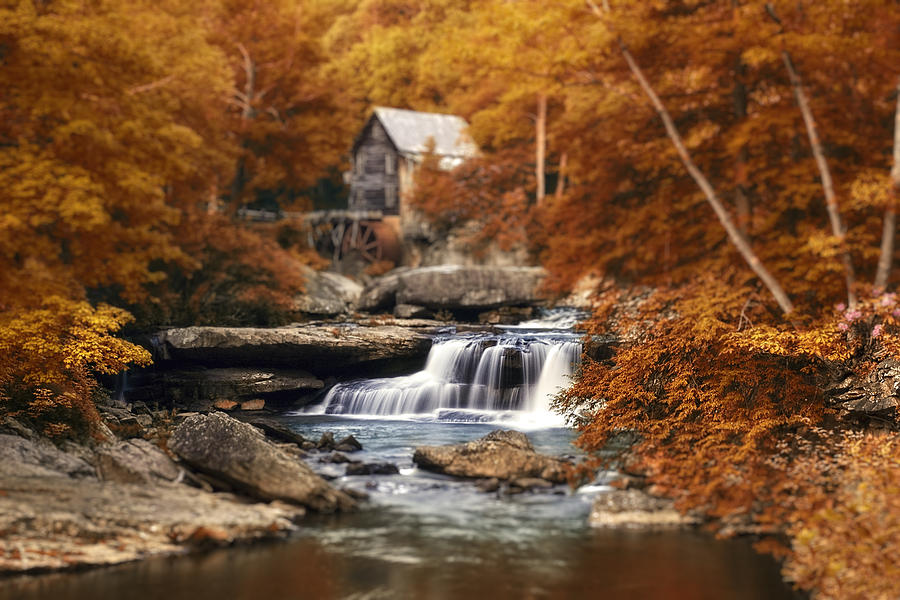 Fall Photograph - Glade Creek Mill Selective Focus by Tom Mc Nemar