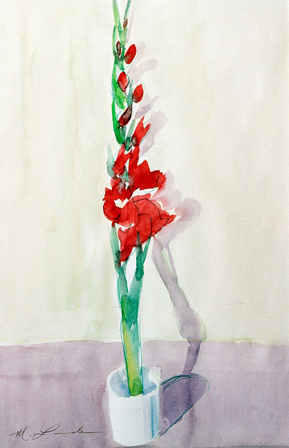 Gladiolas Painting - Gladiolas In A Coffee Cup by Mark Lunde