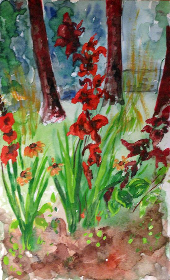 Warecolor Flower Gladiloli Paper Still Life Painting - Gladioli-2 by Vladimir Kezerashvili