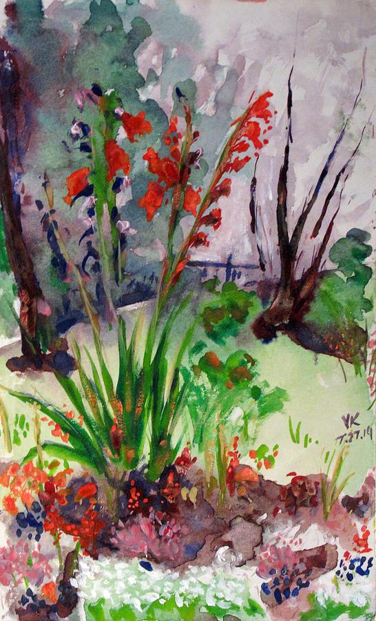 Watercolor Painting - Gladioli-4 by Vladimir Kezerashvili