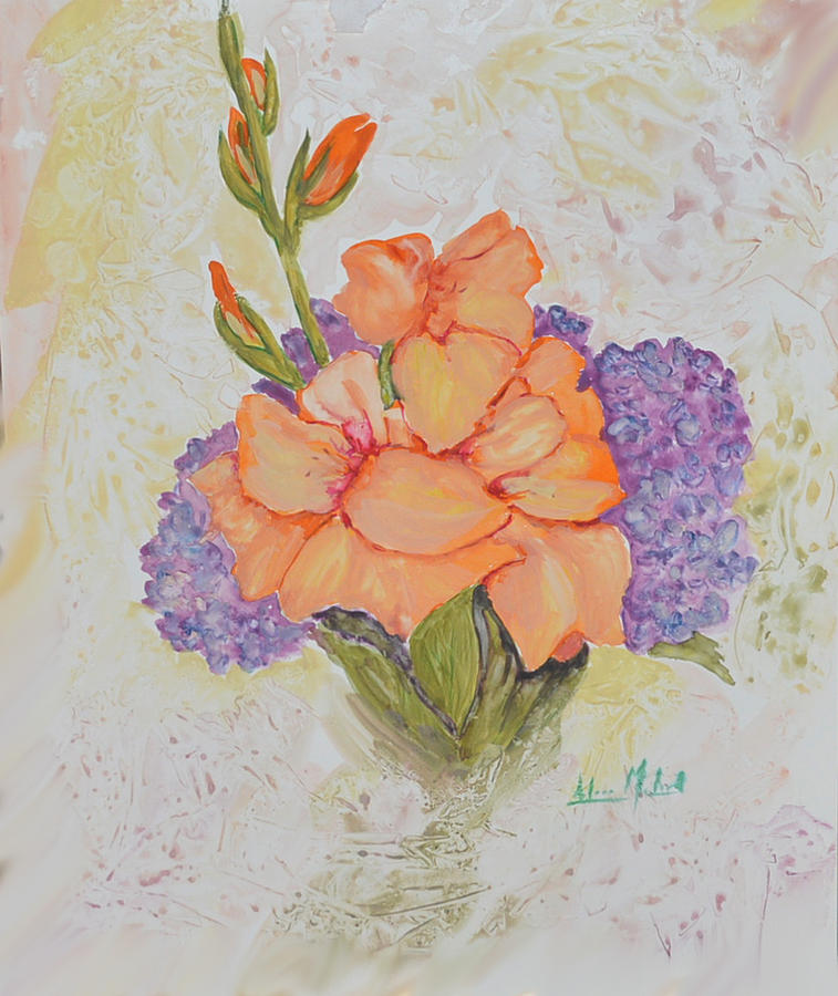 Floral Painting - Gladioli And Hydrangea by Aileen McLeod