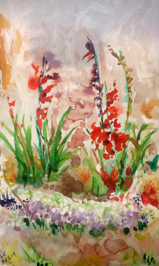 Flower Painting - Gladioli by Vladimir Kezerashvili