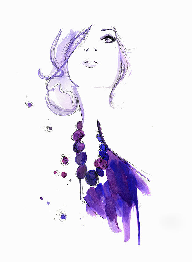 People Digital Art - Glamorous Woman Wearing Purple Necklace by Jessica Durrant
