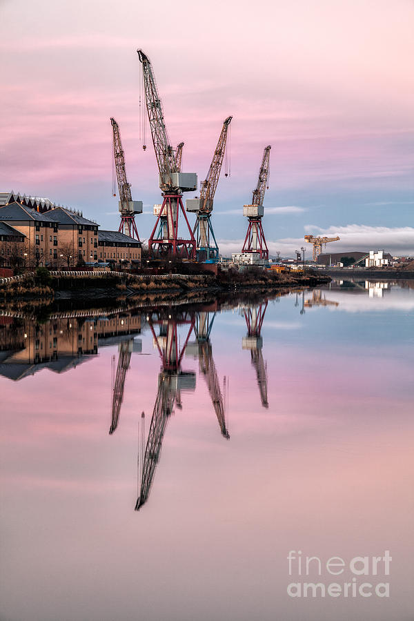 Glasgow Photograph - Glasgow Cranes With Belt Of Venus by John Farnan