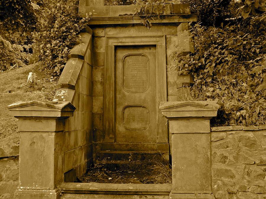 Sepia Photograph - Glasgow Necropolis Monument by Denise Mazzocco