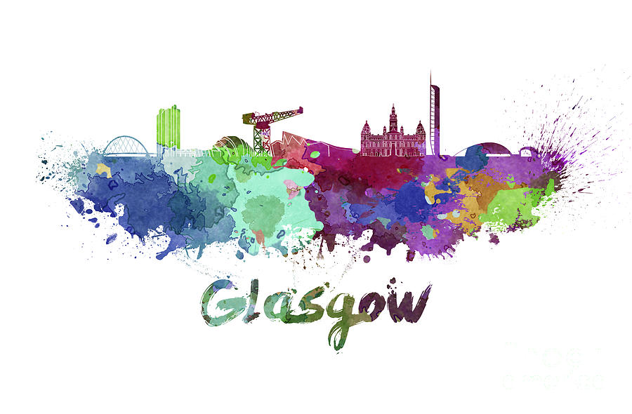Glasgow Skyline In Watercolor Painting