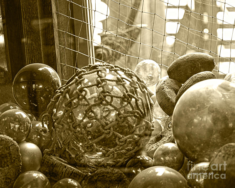 Ocean Beach Glass Photograph - Glass Balls Japanese Glass Buoys by Artist and Photographer Laura Wrede