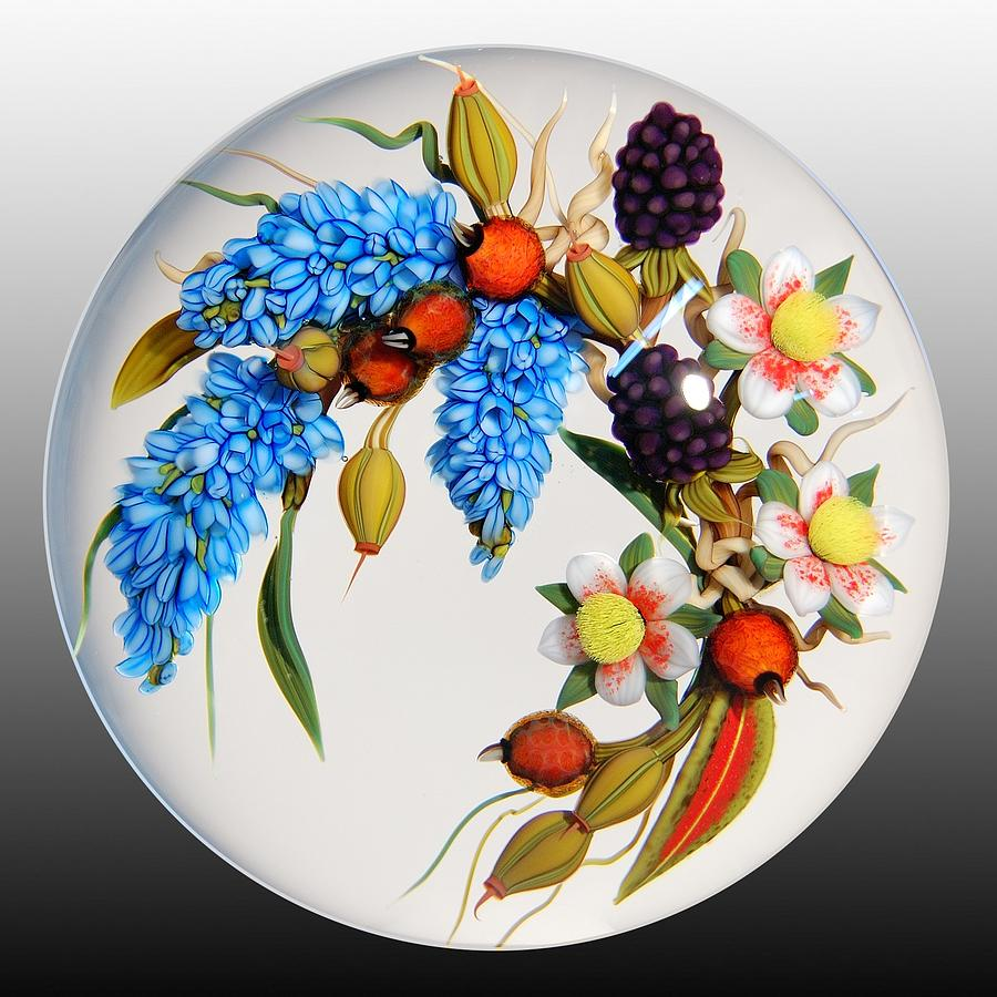 Glass Paperweights Glass Art - Glass Berries And Blooms by Chris Buzzini