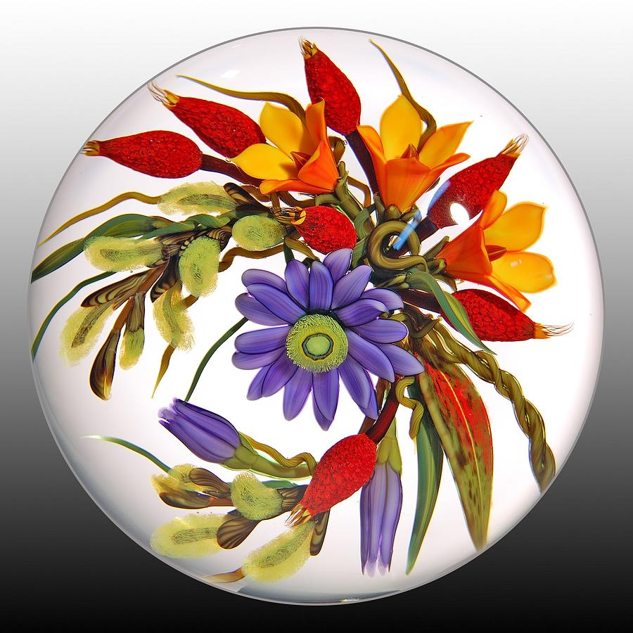 Glass Paperweights Glass Art - Glass Blooms Leaves And Seedpods by Chris Buzzini