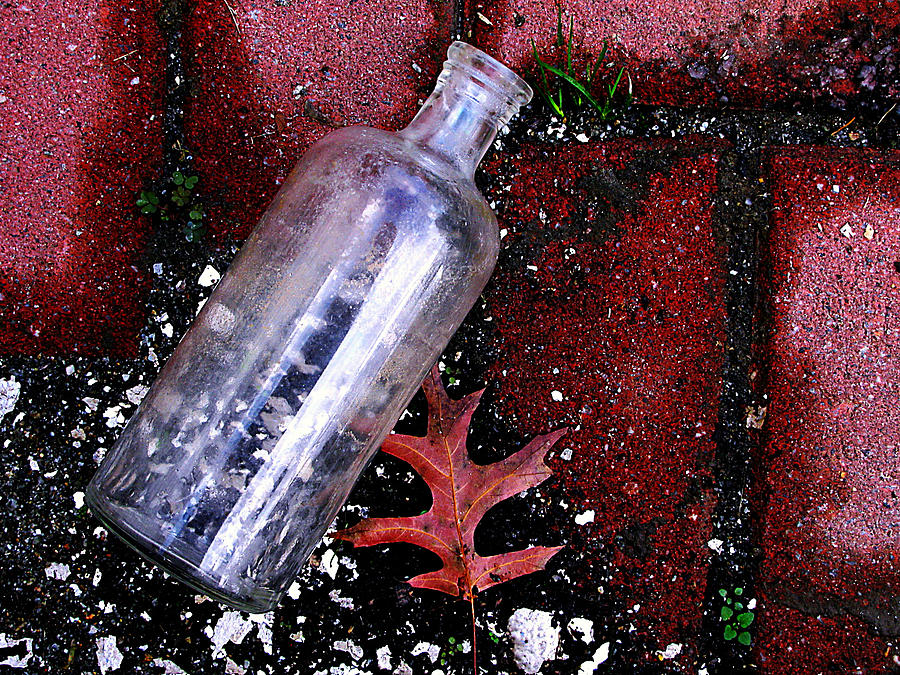 Glass Photograph - Glass Bottle And  Bricks by Colleen Kammerer