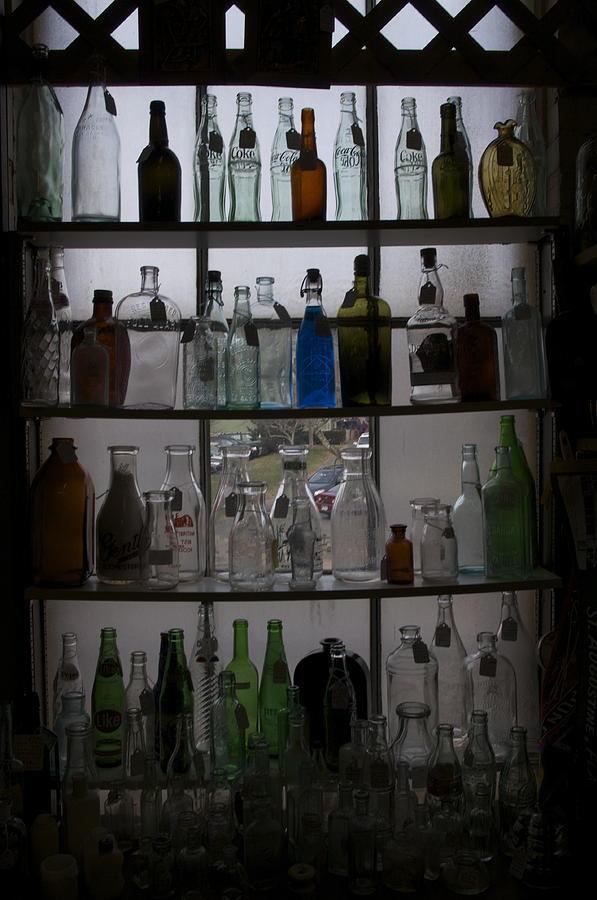Glass Photograph - Glass Bottles by Micaela Brown