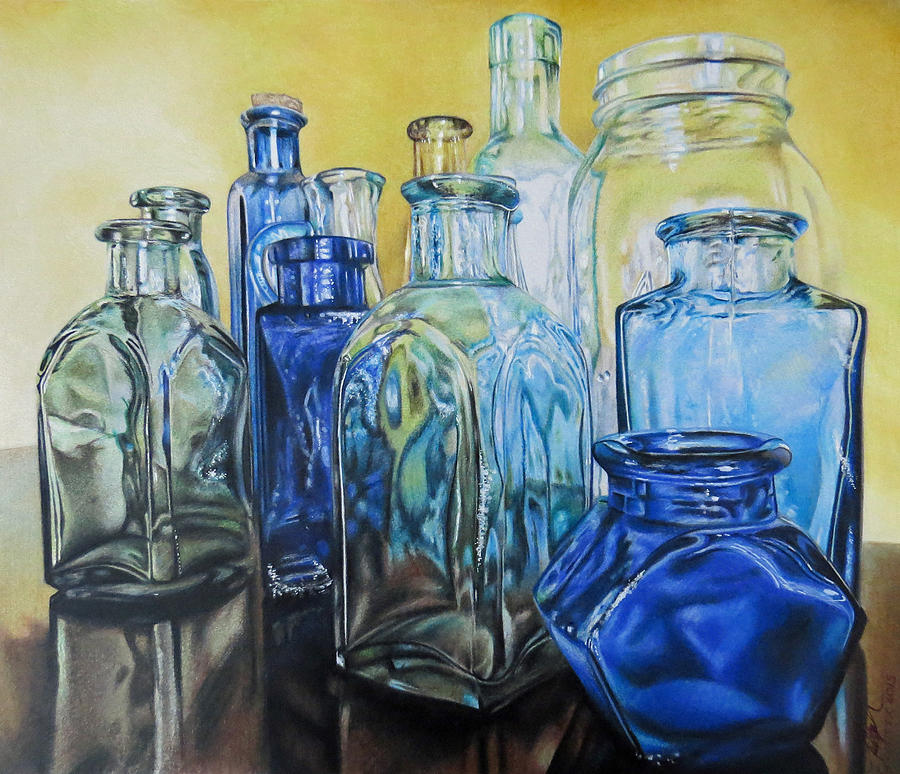 colored pencil drawing glass bottles by tara aguilar - Colored Glass Bottles