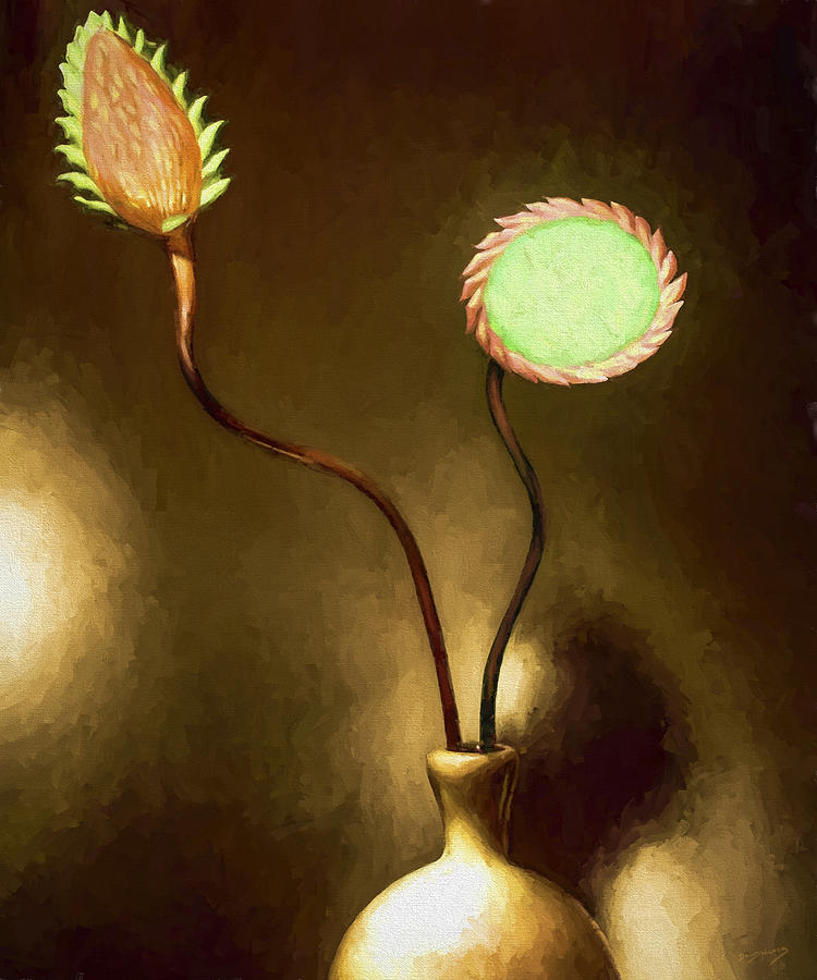 Still Life Painting - Glass Flowers  by David Wagner