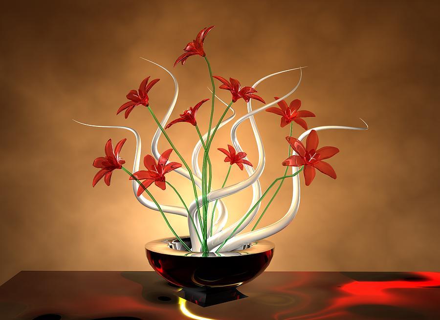 white digital art glass flowers by louis ferreira - Glass Flowers