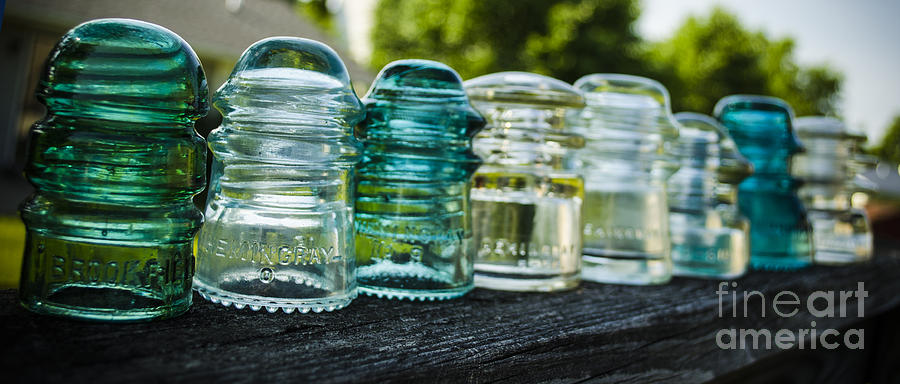 Glass Insulator Photograph - Glass Insulator Row by Deborah Smolinske