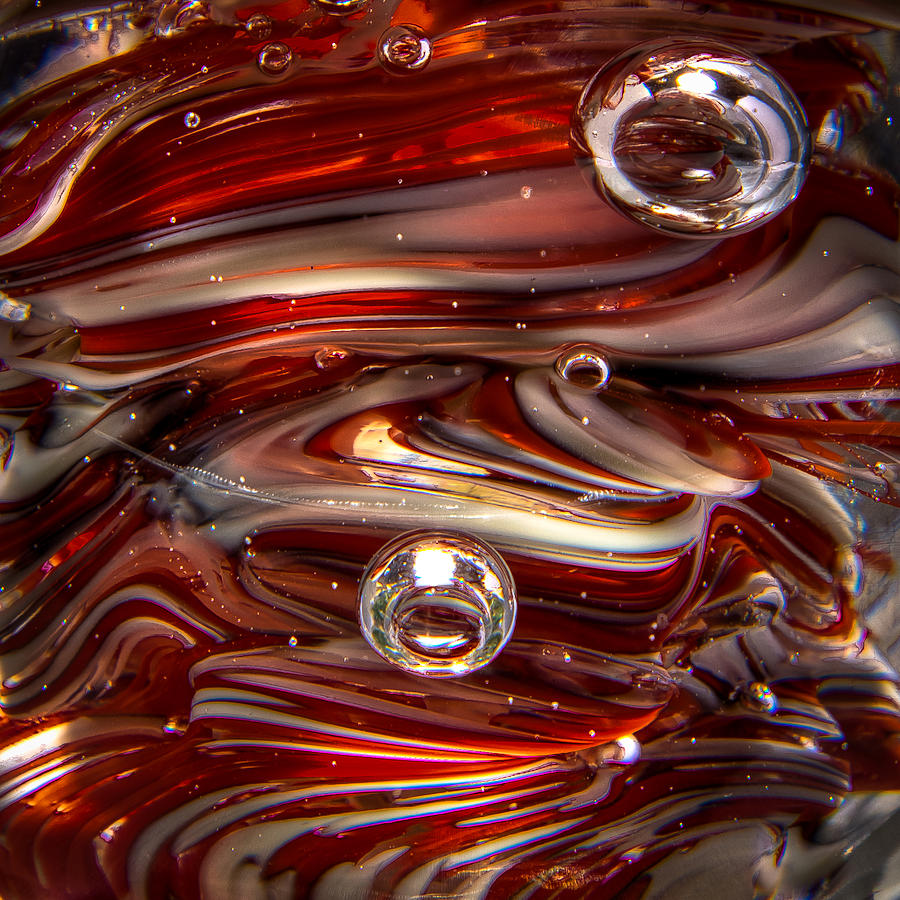Glass Photograph - Glass Macro Abstract Crimson And Gray IIi by David Patterson