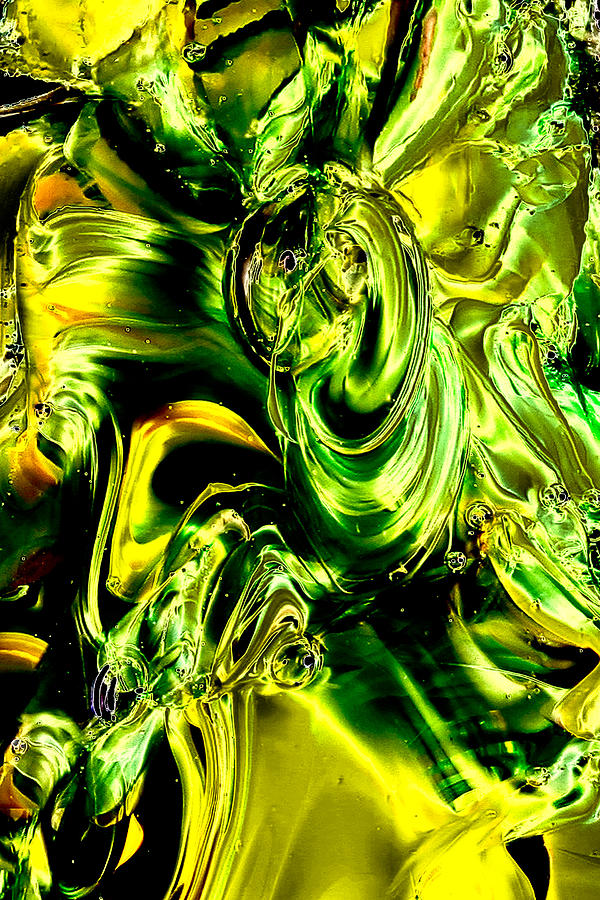Glass Photograph - Glass Macro Abstract - Greens And Yellows by David Patterson