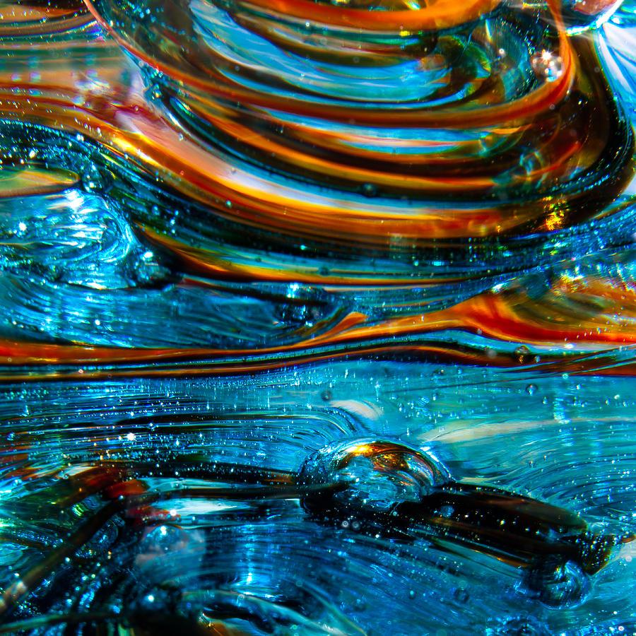 Glass Photograph - Glass Macro - Blue Swirls by David Patterson