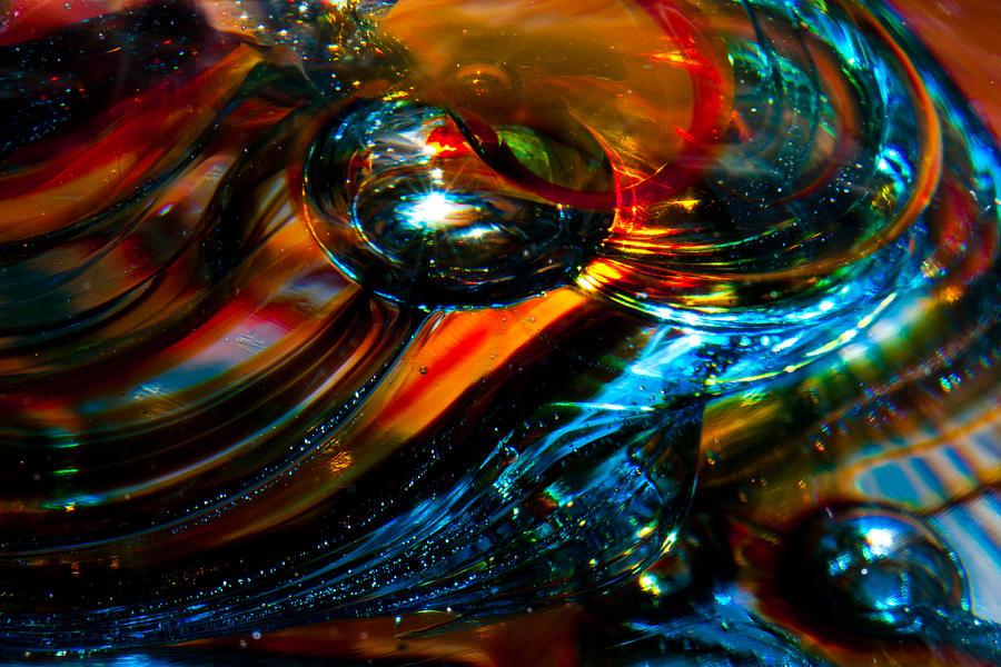 Glass Photograph - Glass Macro - Blues And Orange by David Patterson