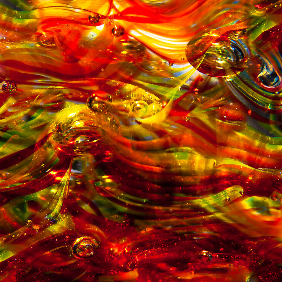 Glass Photograph - Glass Macro - Burning Embers by David Patterson