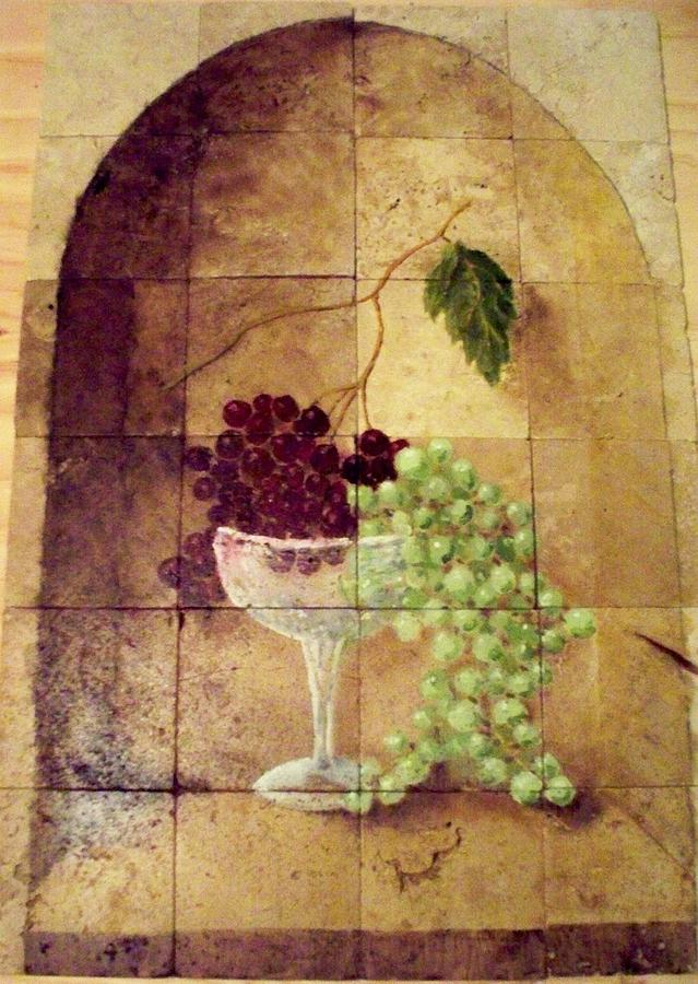 Tile Painting - Glass of Grapes by Patrick Trotter