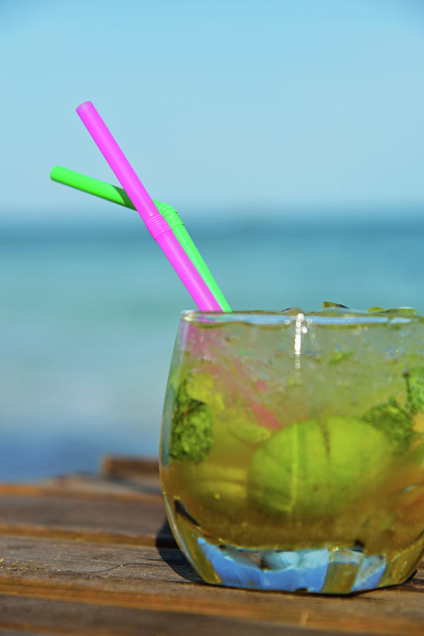 Glass Of Mojito Cocktail By Tropical Photograph by Sami Sarkis