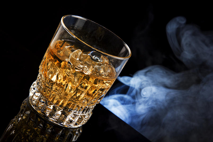 Whisky Photograph - Glass of whiskey and smoke by Tomasz Sergej