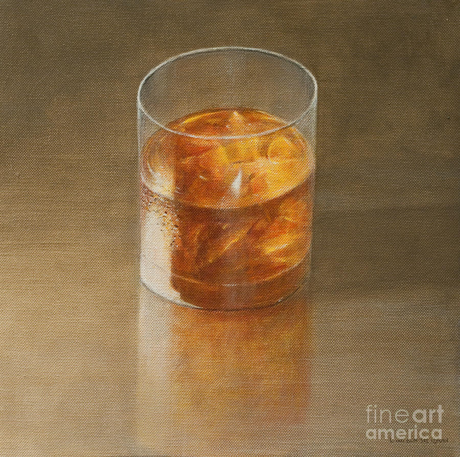 Alcohol; Glass; Drink; Booze; Beverage; Ice; Tumbler; Liquor; Whiskey; Bourbon; Alcoholic; Still Life; Spirit Painting - Glass Of Whisky 2010 by Lincoln Seligman