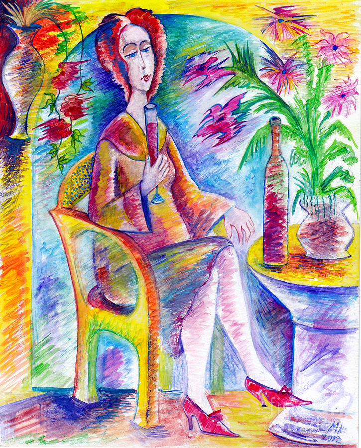 Watercolor Painting - Glass Of Wine by Milen Litchkov
