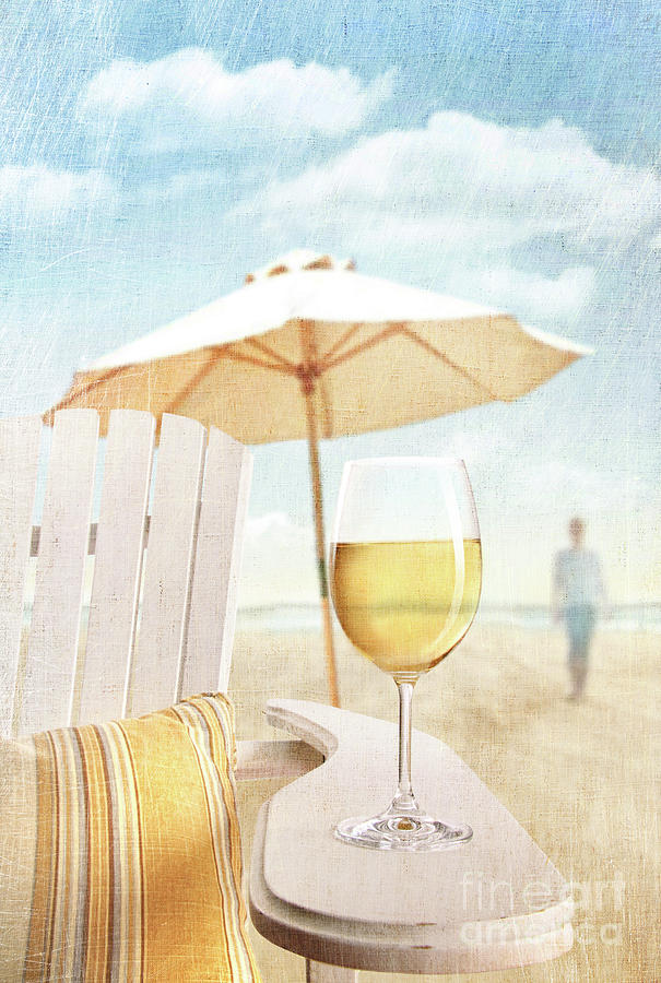 Beach Photograph - Glass Of  Wine On Adirondack Chair At The Beach by Sandra Cunningham